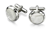 Fred Bennett Stainless Steel Mother of Pearl Round Cufflinks