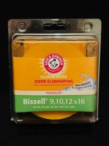Bissell Vacuum Filter 9,10,12 & 16 Odor Eliminating Washable Arm & Hammer New