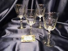 Libbey Rock Sharpe 3006-3 Cut Crystal Water Wine Glass Goblet Set of Four
