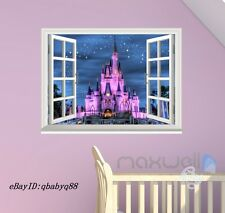 Fantacy Disney Princess Castle Dream 3D Window Wall decor Stickers Girls decals