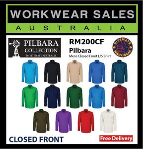 PILBARA Ritemate Shirt Mens Closed Front L/S Work Farm Shirt RM200CF Long Sleeve