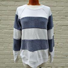 The Great. Women's Size 1 Blue White Sherpa Stripe Slouch Sweatshirt