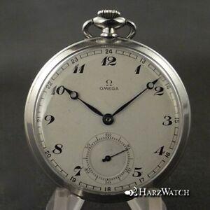 Omega Lepine Pocket Watch Steel 48 MM - Art Deco - Breguet Numerals - From 1937
