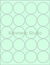 "6 SHEETS 2"" ROUND BLANK GREEN STICKERS LABELS CUSTOM PERSONALIZE KIMMERIC STUDIO"