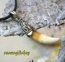Hand Finish Tribal Two Tone Natural Animal Tooth Amulet Hip Hop Necklace
