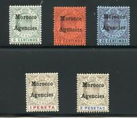 GIBRALTAR  MOROCCO AGENCIES  SCOTT#17/28, 30, 32/33   MINT LH SCOTT $119.