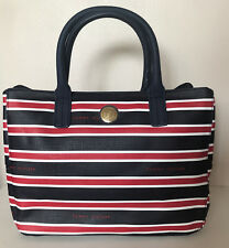 NEW! TOMMY HILFIGER MONOGRAM NAVY BLUE RED MEDIUM SHOPPER TOTE BAG $89 SALE