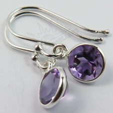 925 Solid Sterling Silver Small Little Earrings Natural AMETHYST Round Gemstones