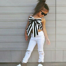 Kids Toddler Baby Girl Striped Bow Tops Shirt+Hole Pants Clothes Outfit 2PCS Set