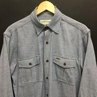 Mens Medium ORVIS Houndstooth Blue Cotton Flannel Shirt -Worn once-  18c