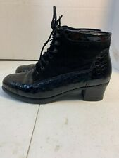 RIEKER Black Lace Up Vintage Style Granny Boots 37-6 Suede/leather