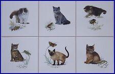 6 Fliesen, Kacheln mit Katzen in 15x15cm als Küchenfliesen oder zum Aufhängen