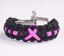 Pink Ribbon Breast Cancer AWARENESS Bracelet Adjustable Paracord