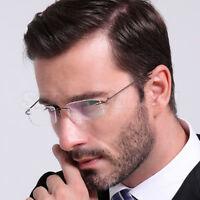 Men Ultra Light Titanium Eyeglasses Frame Rimless Glasses Frame Optical RX  Able
