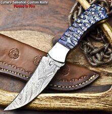 Handmade Damascus Steel Skinning Blade Full Tang Knife | Hard Wood