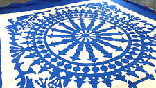 Blue & White Ships Wheel w/ Eagles Hand Applique Quilt Top - Incredible border