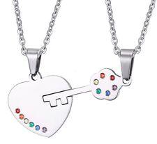Gay Jewelry Lovers Lesbian Heart Lock pendant titanium steel Pride LGBT necklace