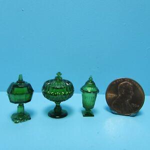 Dollhouse Miniature Chrysnbon Vintage Glass Look Candy Dish Set Dk Green CB68EG