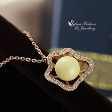 18K Rose Gold Filled Simulated Pearl & Diamond Hollow Out Flower Necklace