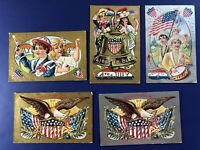 5 Very Nice 4th Of July Antique Postcards. NASH Publ #3 1900s. For Collectors