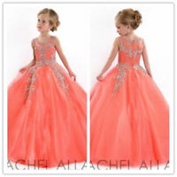 Stock Long Dress Flower Girl Pageant Party Dance Wedding Birthday Ball Gowns