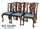 19TH C ANTIQUE SET OF 6 MAHOGANY IRISH CHIPPENDALE DINING CHAIRS