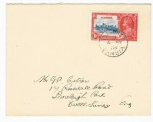 1935 Silver Jubilee Gambia 1 1/2d on a proper rate Cutress FDC
