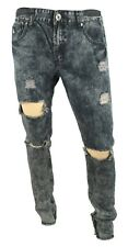 NEW AMERICAN STITCH DNM COLLECTION SLIM FIT ACID WASH ZIPPER HEM RIPPED JEANS 36