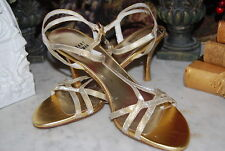 STUART WEITZMAN GOLDEN GLITTER STRAPPY ANKLE STRAPPED WOMEN'S SHOES NWOB SZ 6 M