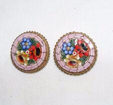 Vintage Italiano mosaico de micro pendientes de clip en Flores Floral