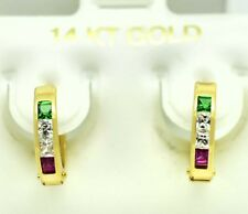 EMERALD & RUBY HUGGIES EARRINGS 14k  Yellow Gold  *FREE SHIPPING