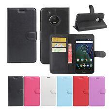 Premium Leather Wallet Case Cover For Motorola Moto G5 / G5 Plus / G5S/ G5S Plus
