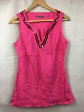 South Womens Vest Top Pink Size 12 Sequins Party Summer B2