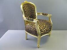 "Holz Kindersessel Kinderthron Thron golden 120 cm Muster ""Leopard"""
