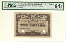 South Africa Netherlands Bank 10 Sh Banknote 1920 - SPECIMEN PMG 64 EPQ CU