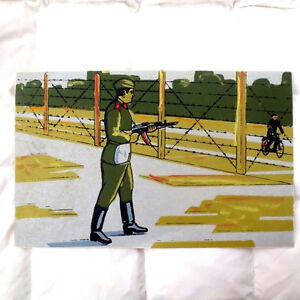 1970's Soviet Russian USSR SOLIDER GUARD w GUN on DUTY- Painting / Poster RUSSIA