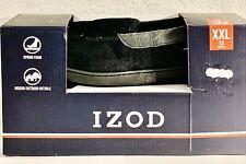 IZOD Men's  Sz 13 XXL Moccasin Slippers Black Indoor/Outdoor Sole Spring Foam