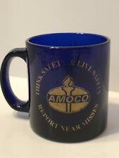 Vintage AMOCO Cobalt Blue Glass Cup Mug THINK SAFETY LIVE SAFELY 12 oz USA