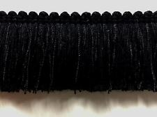 """1.75"""" Brush Fringe Trim Extra Thick  BRF-1/47  (Black) Sold by the yard"""