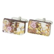 Rectangular Cufflinks - Purple Gold GlassOfVenice Murano Glass Venetian Classic