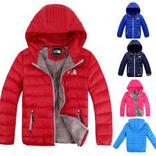 Winter Kids Boys Girls Down Snowsuit Hooded Warm Puffer Coat Outwear Jacket