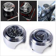 """7/8"""" / 1"""" Motorcycle Handlebar Mount Watch Dial Clock and Thermometer For Yamaha"""