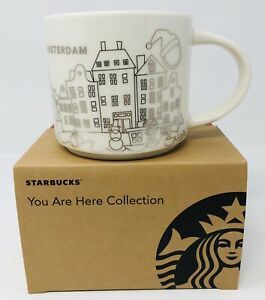 Starbucks YAH Christmas Mug Amsterdam 14 fl oz Mug Red Box White Silver Special