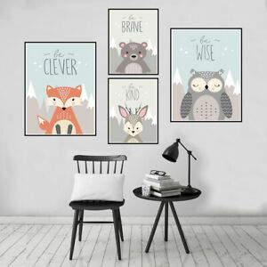 Cartoon Animal Canvas Art Poster Wall Picture Kids Room Home Decor Unframed