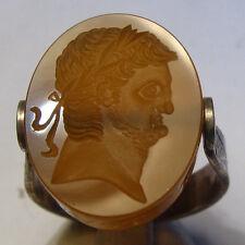 Handmade Roman Style Roman Emperor Nero Carnelian Intaglio Silver ring