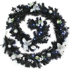 WeRChristmas Pre-Lit Decorated Garland, 40 LEDs, Black & Silver  - Brand New!