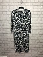 PHASE EIGHT LADIES DRESS SIZE 12 BLACK GREY WHITE MIX FLORAL PRINT V NECK