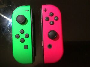 Authentic NINTENDO Switch Joy-Con Wireless Controllers Neon pink an green