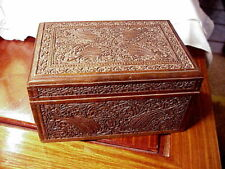 WOODEN DRESSER BOX, INTRICATE CARVING ON EXTERIOR SURFACES, EST EARLY 20TH C