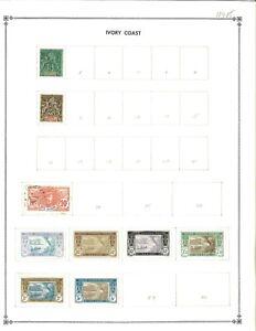 Ivory Coast 1892-1941 M (Mostly) & U on 1 Scott International Blank Page